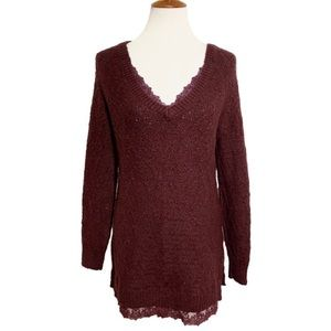 Anthropologie Lace Knit Pullover Tunic Sweater